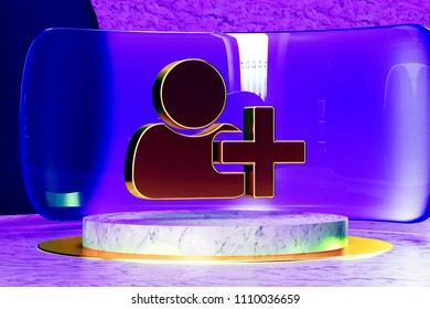 Golden User Plus Icon on the Marble and Blue Glass. 3D Illustration of Golden Account, Add, Contact, New, Plus, Profile, User Icon Set in the Blue Installation.