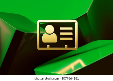Golden Vcard Icon Around Green Glossy Boxes. 3D Illustration of Fine Golden v Card, v Card, Vcard, Vcard File, Vcard File Icons on the Green Abstract Background.