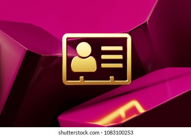 Golden Vcard Icon With the Fine Magenta Glossy Boxes. 3D Illustration of the Golden v Card, v Card, Vcard, Vcard File, Vcard File Icon Set on Magenta Abstract Background.