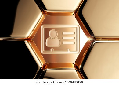 Golden Vcard Icon in the Honeycomb. 3D Illustration of Luxury Golden v Card, v Card, Vcard, Vcard File, Vcard File Icons on Gold Geometric Pattern.