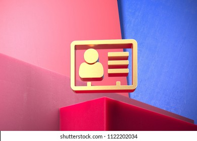 Golden Vcard Icon on the Blue and Pink Geometric Background. 3D Illustration of Gold v Card, v Card, Vcard, Vcard File, Vcard File Icon Set With Color Boxes on Pink Background.