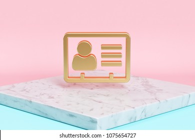 Golden Vcard Icon on the Candy Background . 3D Illustration of Golden v Card, v Card, Vcard, Vcard File, Vcard File Icons on Pink and Blue Color With White Marble.