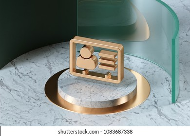Golden Vcard Icon on the Center of White Marble and Green Glass. 3D Illustration of Stylish Golden v Card, v Card, Vcard, Vcard File, Vcard File Icon Set in the Green Installation.