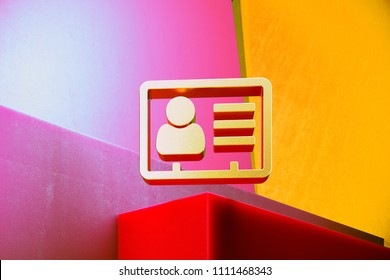 Golden Vcard Icon on the Colorful Candy Geometric Background. 3D Illustration of Gold v Card, v Card, Vcard, Vcard File, Vcard File Icon Set With Color Boxes on Candy Background.