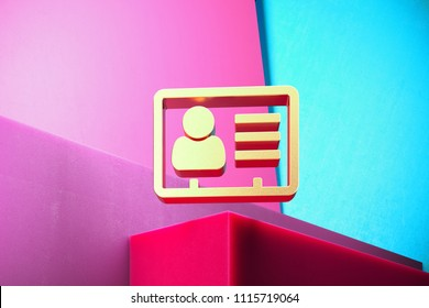 Golden Vcard Icon on the Cyan and Magenta Geometric Background. 3D Illustration of Gold v Card, v Card, Vcard, Vcard File, Vcard File Icon Set With Color Boxes on Magenta Background.