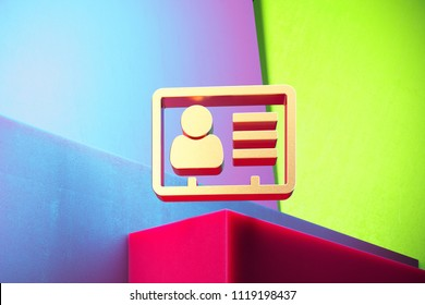 Golden Vcard Icon on the Green and Violet Geometric Background. 3D Illustration of Gold v Card, v Card, Vcard, Vcard File, Vcard File Icon Set With Installation of Color Boxes.