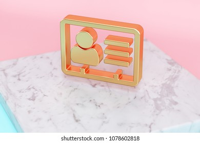 Golden Vcard Icon on Pink and Light Blue Color Background . 3D Illustration of Golden v Card, v Card, Vcard, Vcard File, Vcard File Icon Set on White Marble.