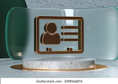 Golden Vcard Icon on White Marble and Green Glass. 3D Illustration of Stylish Golden v Card, v Card, Vcard, Vcard File, Vcard File Icon Set in the Green Installation.