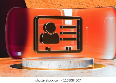 Golden Vcard Icon on White Marble and Red Glass. 3D Illustration of Stylish Golden v Card, v Card, Vcard, Vcard File, Vcard File Icon Set in the Red Installation.