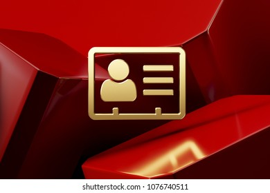 Golden Vcard Icon With the Red Luxury Boxes. 3D Illustration of Lux Golden v Card, v Card, Vcard, Vcard File, Vcard File Icon Set on the Red Geometric Background.
