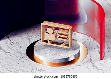Golden Vcard Icon With White Marble and Red Glass. 3D Illustration of Fashion Golden v Card, v Card, Vcard, Vcard File, Vcard File Icon Set in the Red Installation.