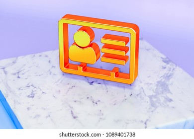 Golden Vcard Symbol on Blue Background With Marble. 3D Illustration of Golden v Card, v Card, Vcard, Vcard File, Vcard File Icon Set in the Blue Light.