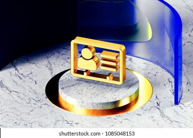 Golden Vcard Symbol on the White Marble and Blue Glass Around. 3D Illustration of Golden v Card, v Card, Vcard, Vcard File, Vcard File Icon Set With Blue Glass.