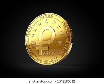 Golden Venezuelan Petro cryptocurrency coin isolated on black background. 3D rendering