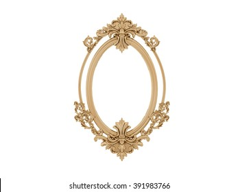Golden vintage frame. Antique mirror. Design retro element.  physical realistic reflection