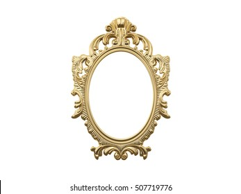 Golden vintage frame, mirror. Design retro element. physical realistic reflection . 3d rendering