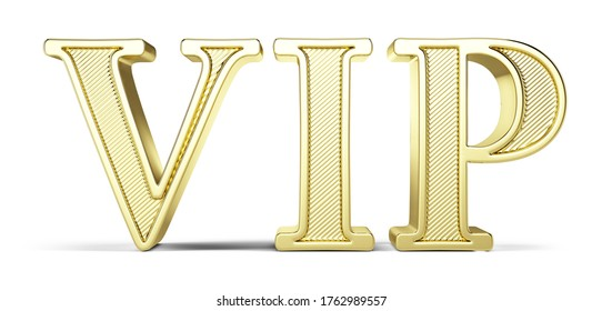 Golden VIP letters isolated on white background - 3d rendering