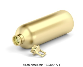 Golden water bottle on white background