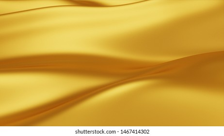 Golden wave background. Abstract 3d illustration of gold liquid background. Gold texture. Cloth, velvet, lava, nougat, caramel, amber, honey, oil.