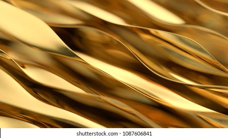 Golden wave background. Gold background. Gold texture. 3d render