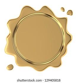 Golden wax seal on white background