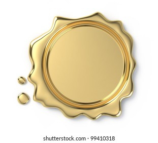 Golden wax seal on white background