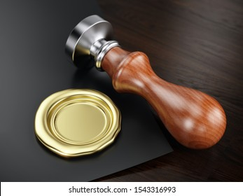 Golden wax seal and personal stamp tool. 3d illustration