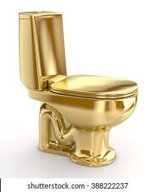 Golden WC toilet