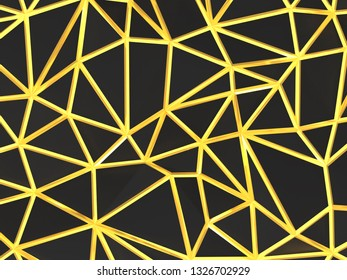 golden web black backgroung abstruct polygonal 4k 3d