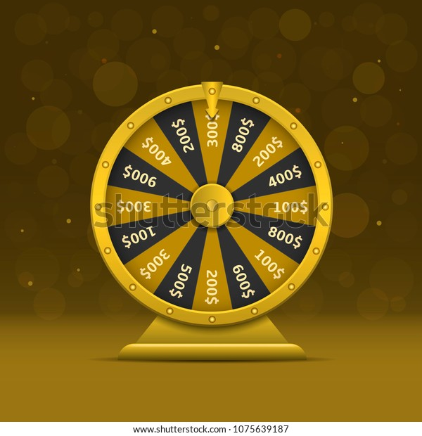 Golden Wheel Fortune Casino Online Money Stock Illustration