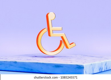 Golden Wheelchair Icon on the Blue Background. 3D Illustration of Golden Disabilities, Disabled, Handicap, Priority Icons in the Blue Light With White Marble Box.