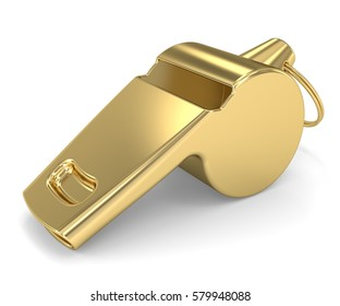 Golden Whistle on a white background. 3D rendering.