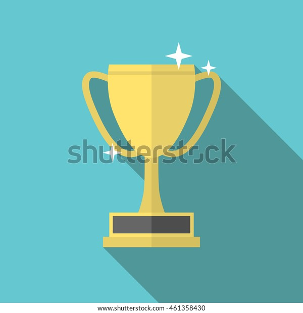 Golden winner cup icon with long shadow on blue background, flat design. Victory, achievement, goal, success and sports concept