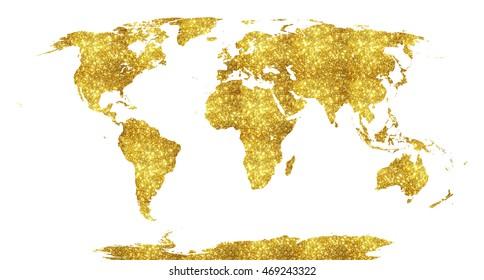 Golden world map. Glitter.