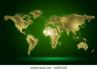 golden world map on dark green background