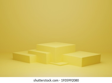 Golden yellow Background 3D rendering geometric shapes abstract minimal background with podium. Product display Minimal design, showcase, banner, cream, fashion, luxury, cosmetic ads. Podium