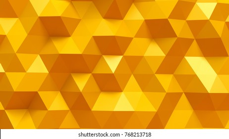 Golden yellow triangle crystal background. 3d illustration, 3d rendering.