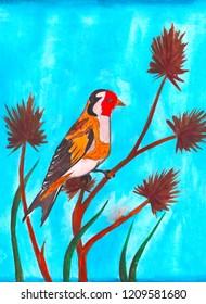 goldfinch bird  watercolor