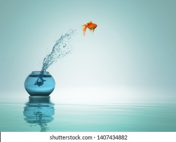 goldfish jump from bowl to the sea. This a 3d render illustration