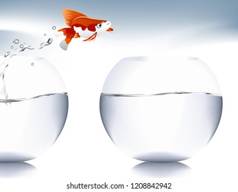 A goldfish jumping out of the water to escape to freedom.