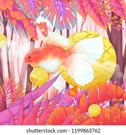 Goldfish in pink forest