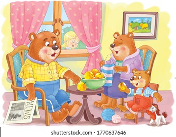 Goldilocks and the three bears. Fairy tale.  One picture from series. Coloring book. Educational book. Illustration for children. Cute and funny cartoon characters