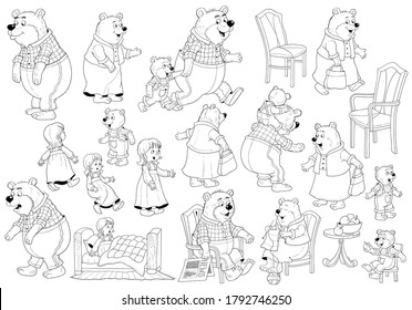 Goldilocks and the three bears. Fairy tale.  Set of cute illustrations. Coloring book. Illustration for children. Cute and funny cartoon characters isolated on white background