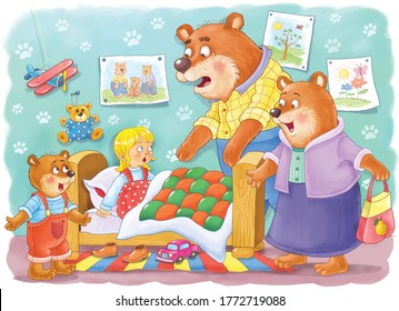 Goldilocks and the three bears.Fairy tale.  One picture from series. Coloring book. Educational book. Illustration for children. Cute and funny cartoon characters