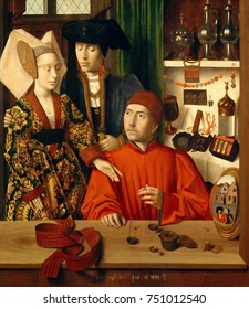 A GOLDSMITH IN HIS SHOP, by Petrus Christus, 1449, Netherlandish, Northern Renaissance oil painting. The couple are Mary of Guelders and James II, King of Scots, for whom van Vleuten has made a weddin