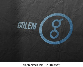 Golem coins (GNT) cryptocurrency and modern banking concept. Photo realistic appearance style rendering.