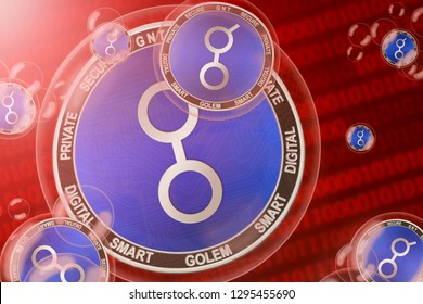 Golem crash; Golem (GNT) coins in a bubbles on the binary code background. Close-up. 3d illustration