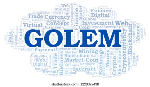 Golem cryptocurrency coin word cloud.