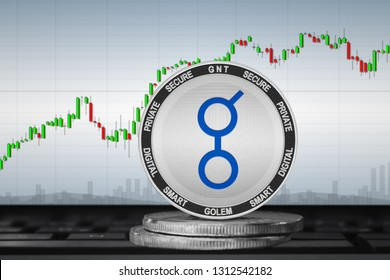 Golem; cryptocurrency coins - Golem (GNT) on the background of the chart. 3d illustration
