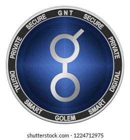 Golem (GNT) coin isolated on white background; golem cryptocurrency